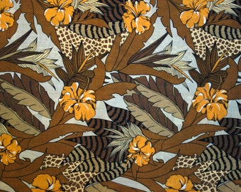 Hibiscus Animal Print Fabric, 2.5 Yards of Vintage Polyester Fabric with Orange Hibiscus and Brown Tropical Leaves, Giraffe and Animal Print