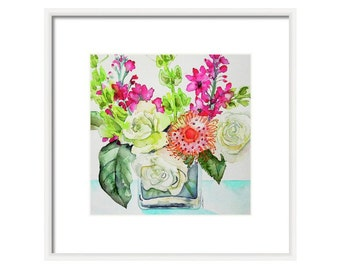 Watercolor Floral Art Print- Floral Wall Art-Home Decor-Floral Painting-Flower Print- Bouquet of Flowers-Fine Art-Giclee