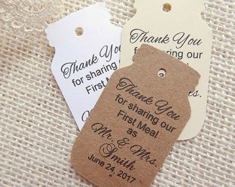 Personalized Mason Jar Tags Thank You for Sharing Our First Meal, Pick Quantity and Color