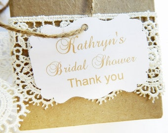 Bridal Shower Favor Tags, Bridal Shower Gift Tags, Bridal Shower Thank You, Personalized Custom Party Tags