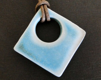 Ceramic Pendant Necklace - Woodfired Turquoise