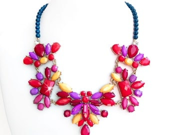 Necklace - Bright Summer Bib Necklace in Gold - Red, Purple, Yellow, Navy Statement Necklace - Unique Bib Necklace - Neon