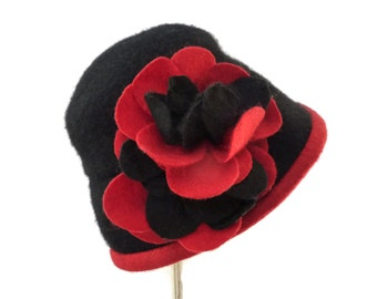 """Women's Cloche Hat, Downton Abby Style Wool Cloche, Crushable Hat for Travel, Vintage Inspired Wool Cloche in Black and Red- """"Winter Blooms"""""""