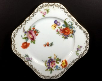 "Vintage Square Luncheon Plate, ""Old Meissen"" by Tirschenreuth, Bavaria, White with Multi-colored Flowers, Gold Trim"