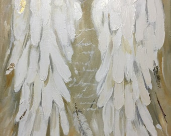 Angel Wings Painting with Gold Leaf    I Know That Was You 11x14 inches