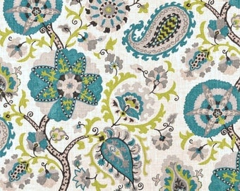 """Teal Paisley Curtains, Suzani Curtains, Modern Window Drapes, Trendy Home Decor, Hipster Curtain Panels, Rod-Pocket, One Pair 50""""W"""