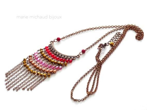 Red pink and gold delicate fringe necklace, Fringe necklace, Orignal necklace, Red and pink necklace, Boho necklace, Boho jewelry,
