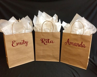 Free Shipping!Personalized Gift Bags,Brown Kraft Bag with Handles,Bridal Party,Bridesmaid Gift Bag,Rustic Wedding Bags,Choose Your Name