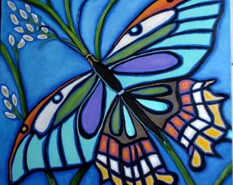 BUTTERFLY Painting- Nature Art -18x24 inch deep edge canvas -Blues and more colors- Bold Butterfly painting