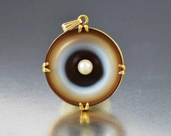 Banded Agate 14K Gold Pendant, Cultured Pearl Pendant, Antique Bulls Eye Agate Charm Pendant, Victorian Pendant, Chalcedony Pendant