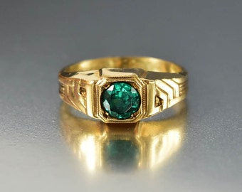 Art Deco Emerald Paste Gold Filled Ring, Vintage Uncas Signet Gold Band Ring, Unisex Mens Ring, Statement Ring, Stacking Ring