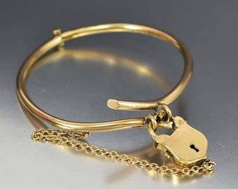 SOLD Antique Padlock Gold Bracelet, Shield Charm ByPass Cuff Bracelet, Hinged Victorian Bangle Bracelet, Love Lock Antique Bracelet