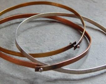 Mixed Up Bangles, mixed metal bangles, copper, brass, sterling silver, joined metals, rolling bangle bracelet, triple bracelet, 3 bracelets