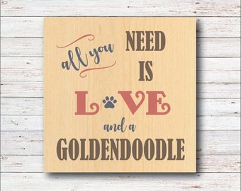 Goldendooldle, Goldendoodle Wall Decor, Rustic Wall Decor, Typeography, Goldendoodle Lover, Birthday Gift, Dogs, Dog Decor, Dog Lover