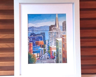 San Francisco Cityscape Skyline Print Framed White or Black Wood. SF Cityscape Painting by Gwen Meyerson
