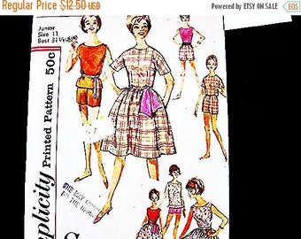 SALE 25% Off 1960s Dress Pattern Junior size 11 UNCUT Womens 2 pc Dress with Sash Top Shorts Full Skirt Vintage Sewing Pattern 60s