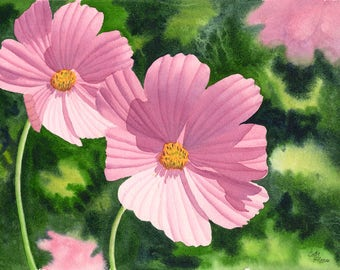 Pink Cosmos Art Watercolor Original Painting by Cathy Hillegas, 11x14, watercolor painting, watercolor flowers, watercolor floral, pink art
