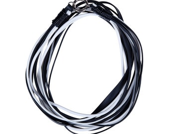 multi strand black and white rubber necklace handmade by Frank Ideas