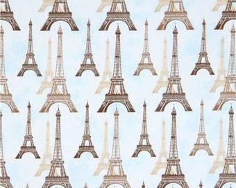 213661 light blue Robert Kaufman brown beige Eiffel Tower fabric City of Lights