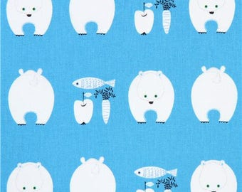 213972 blue with polar bear canvas laminate fabric from Japan