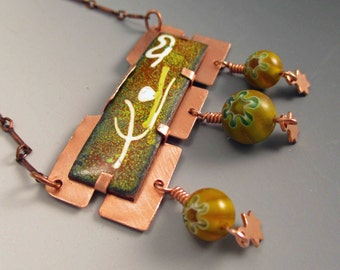 Vintage Vitreous Enamel Focal with Murano Glass Style Beads and Copper Pendant and Necklace Unique Handmade OOAK