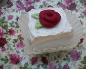 Faux Fake Dessert Cake Faux Cake White with Red Rose, Fake Foods, Petit Fours Dessert Cakes