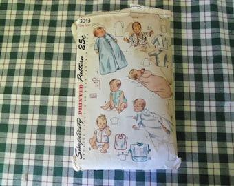 Vintage 1940 Simplicity Pattern 3043 One Size Infant's Layette