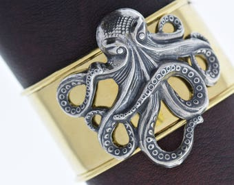 Steampunk  octopus cuff bracelet on brass cuff, sold by each