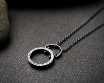 oxidized and hammered sterling silver circle pendant necklace with pins