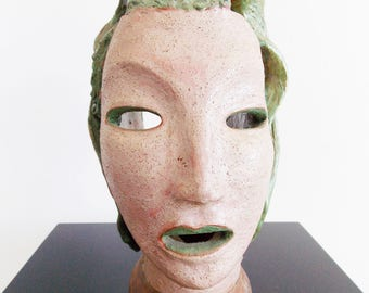Art Deco ceramic bust of a woman / 1930s terracotta sculpture/ vintage 1940s female head statue