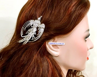 Statement Bridal Hair Clip, Phoenix Hair Clip, Swarovski Crystal Wedding Barrette, Mother Gift for Her, Silver Bridal Hair Jewelry, PHOENIX