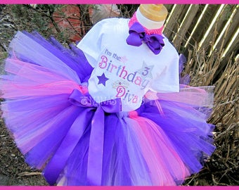 3yrs, Ready to Ship, 3rd  Birthday, Im The Birthday Diva, Party Outfit, Tutu Set,