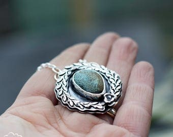 Turquoise and sterling silver double layered pendant with succulant accent - Everlasting -