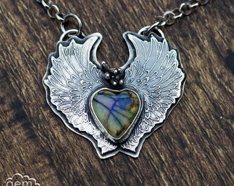 Etched sterling silver with Cultured Opal bohemian necklace - Awake My Heart -