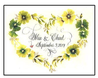 Personalized Unique Wedding Card with hand calligraphy and watercolor flowers. Heart shaped wedding gift.