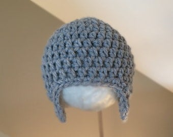 RTS in 3-6 Month Aviator Earflap hat Boys Versatile Hat Crocheted