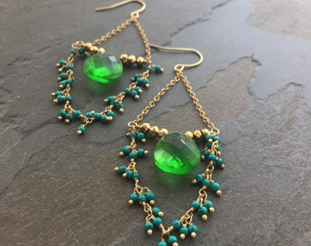 DOROTHY-Emerald Quartz Teardrop with Gold Chain and Teal Stones