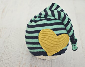 6 to 12 month sleepy stocking hat // baby photo prop // baby photography // heart // long hat // valentine hat // navy  mint mustard // RTS