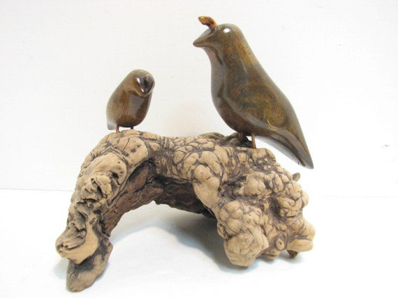 "Vintage Wooden Quail Sculpture, Driftwood Burl Wood Sculpture, Two Birds on Stump, 8"" Tall Mid Century Decor"