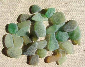 30 Piece Bumper Pack Seaglass Treasures (SG1890) Mixed Blue Green, Pastel, Spring and Olive green Mediterranean Beach Glass
