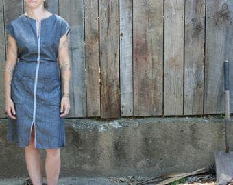 Everyday Dress in Gray or Blue Chambray