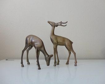 VINTAGE pair of BRASS DEER figurines
