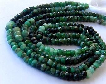 Emerald Gemstone. Precious Gemstone Bead. Shaded Natural Green Emerald. Faceted Emerald Rondelle Gemstone. 4mm  Your Choice Strand (aem).