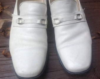 9 D FLORSHEIMS Groovy White LOAFERS Mens Shoes