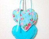 Teal Heart Hangings, Hearts Wall hanging, Fabric Hearts Wall Hanging, Wall Decorations