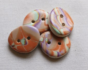 Large Organic Oval Moroccan Kaleidoscope Button 1 inch No. 297