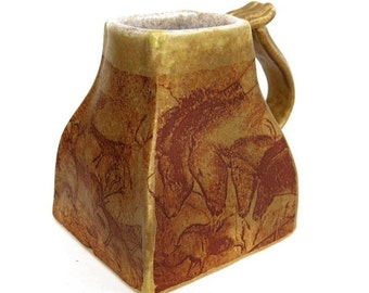 Cave Painting Rock Art Square Rustic Coffee Mug Handmade Ceramic Pottery Cup Ancient History