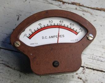 Salvaged Voltage Gauge METER- Industrial DC Amperes Gauge- Vintage Electrical Gadget