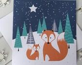 Snowy Fox and cub Christmas Card Scandi Xmas Snow