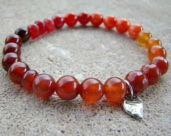 Stone Bracelet, Natural Stone Bracelet, Gemstone Bracelet, Beaded Bracelet, Charm Bracelet, Sterling Silver Bracelet, Stretch Bracelet